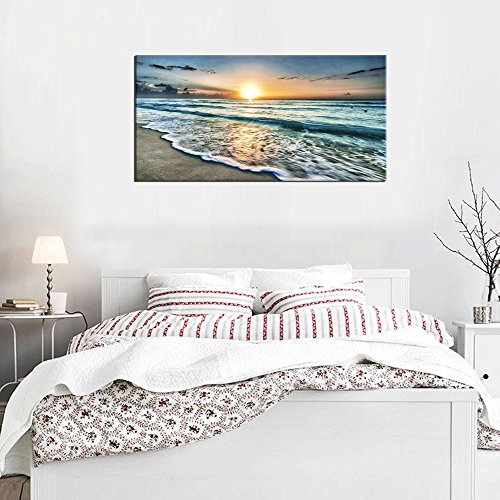 ArteWOODS Canvas Art Wall Decor Sunset Beach Blue Waves Ocean Art Large Modern Artwork Canvas Prints Contemporary Pictures Framed Ready to Hang for Home Decoration
