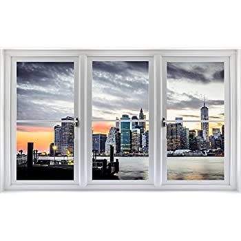 Amazon.com: New York City Skyline NY 3D Window View Decal WALL ...