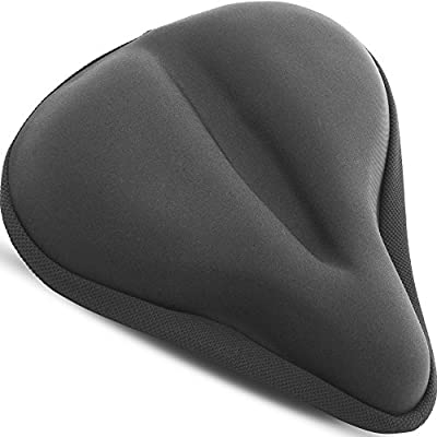 "Bikeroo Large Bike Seat Cushion - 11"" x 10"" Wide Gel Soft Pad Most Comfortable Exercise Bicycle Saddle Cover for Women and Men - Fits Cruiser and Stationary Bikes, Indoor Cycling"