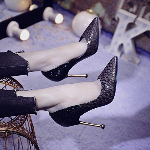 Bouche Vent Avec Fait Du Hauts Femme ZHUDJ Fine Talons Chers Profondes Partie Black grey Serpent Chaussures Peu Gradient De 10Sw0qR7