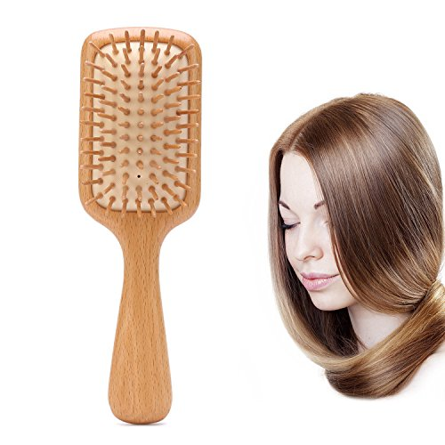 Natural Beech Wooden Hair Brush Detangler Wood Paddle Hair Brush Detangling Scalp Massage Hair Comb Organic Wooden Bristle Cushion HairBrush for Thin Normal Thick Curly Dry Damaged Long Short Hair