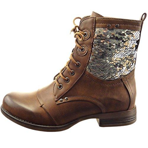 Sopily - Chaussure Mode Bottine Rangers Montante femmes Brillant Talon bloc 2.5 CM - Marron