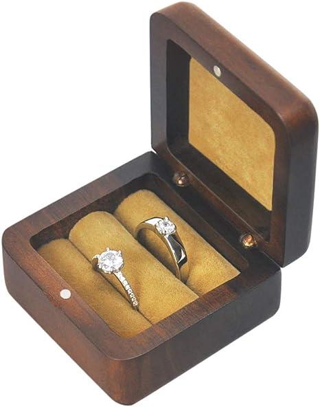 Ring Holder  Black Walnut  Brass Swivel Proposal Box