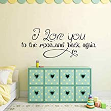 """BATTOO I love you to the moon and back Vinyl Wall Decal - Child's Room Vinyl Wall Decal - Baby Room Vinyl Nursery Wall Decal Quote(White, 18.5""""h x46""""w)"""