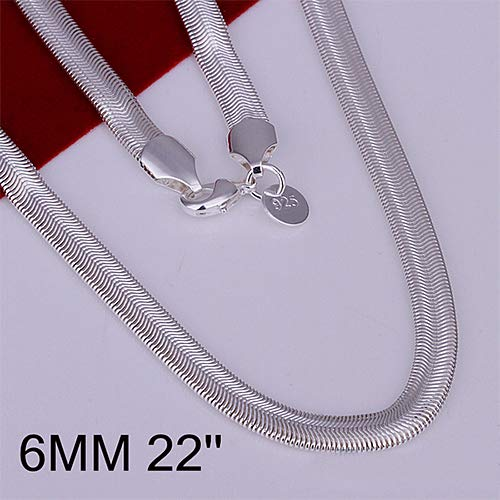 Baost Unisex Fashion Solid Silver Plated 6mm Flat Snake Chain Necklace Magic Flexible Snake Chain with Lobster Claw Clasp Fashion Jewelry Making Chain for Men Women 22 Inch