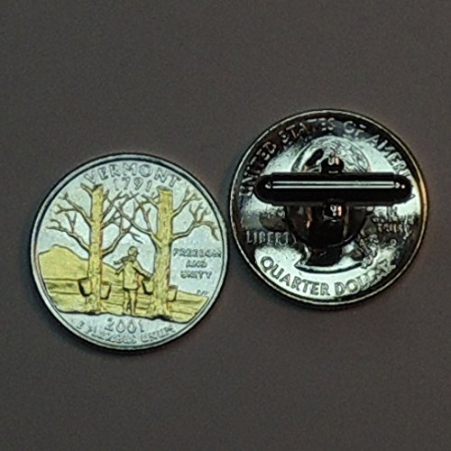 Vermont Statehood Quarter - Gorgeous 2 Toned(Uniquely Hand Done) Gold on Silver coin cufflinks for men - men's jewelry men's accessories for him groomsmen