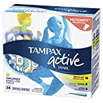 Tampax Pearl Active Plastic Tampons, Light/Regular/Super Absorbency Multipack, Unscented, 34 Count, 4 Boxes, (Total 136 Count)
