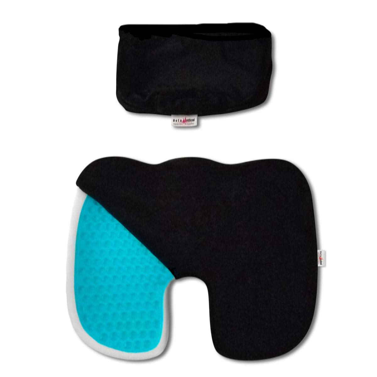 Gel Memory Foam Seat Cushion by BetamedicalES - 2 Seat Covers with Extra Long Zippers - Orthopedic Pain Relief for the Coccyx Tailbone Lower Back and Sciatica - LARGE Office Chair and Car Seat Cushion