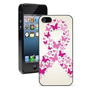 Apple iPhone 5c Hard Back Case Cover Color Pink Butterflies Breast Cancer Awareness Ribbon (Black)