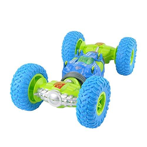 ラジコンカー スタントカー ミニRCカー 2.4GHz 360度回転 ジャイロスタントカー 無線電動ラジコンカー 両面走行特技 持つ 車おもちゃ キッズおもちゃ ギフト ブルー Prosperveil