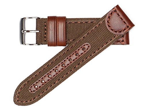 20mm Brown Genuine Oil Tan Leather & Canvas Hadley Roma Watch Band Strap MS868 (Brown Oil Tan Leather)