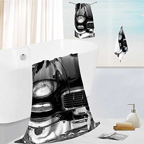 Auraise Home bath towel set design Close up shot of black vintage head lamp Thick, Plush, Absorbent 13.8