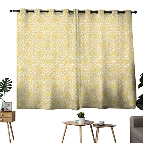 - Mannwarehouse Yellow and White Durable Curtain Ornate Floral Pattern with Swirls Curls Symmetrical Overlap Motifs for Living, Dining, Bedroom (Pair) 55