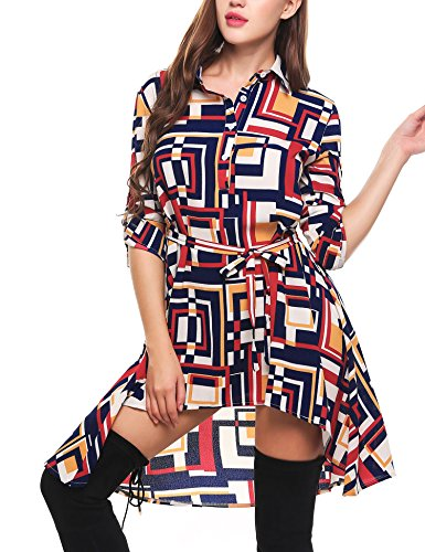 Zeagoo Women Summer Casual A-Line Shirt Dress Half Placket Geometric Asymmetrical Short (60s Themed Outfits)