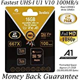 2 Pack 16GB 100MB/s V10 A1 U1 Micro SD SDHC Card Plus Adapter (Class 10 UHS-I MicroSD HC Extreme Pro Memory) Amplim Best Ultra High Speed 32 GB UHS-1 TF MicroSDHC Flash for Cell Phone HD Video. 16G