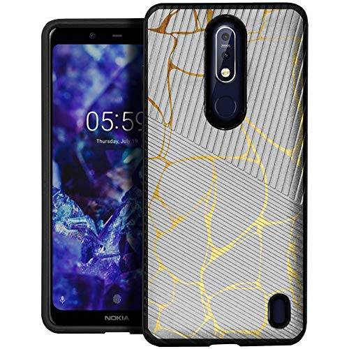 CasesOnDeck Case for Nokia 3.1 Plus (Cricket) - Slim Fitted Hybrid Fusion Embossed Dual Layer Cover (Marble)