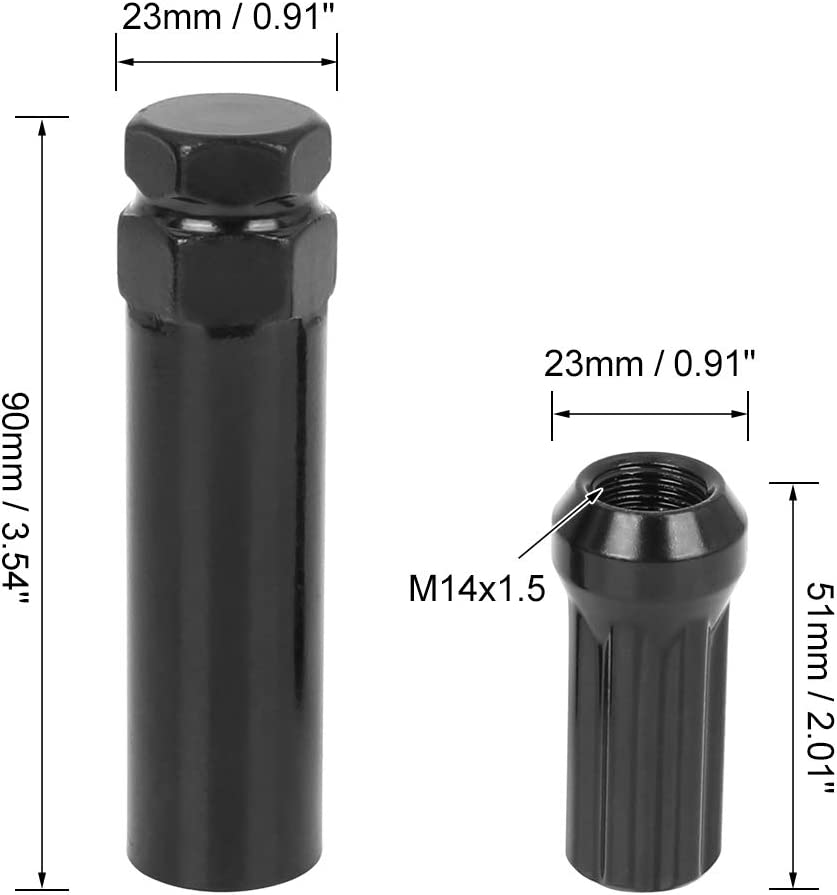 X AUTOHAUX 32pcs Car Black M14X1.5 Conical Cone Bulge Seat Wheel Lug Nuts Spline Closed End with 2 Socket Keys for 8 Lug Aftermarket Wheels 14mmx1.5