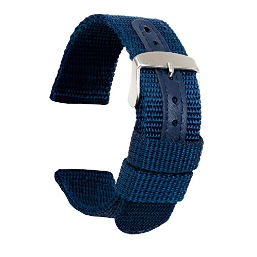 Ullchro Nylon Watch Strap Replacement Canvas Watch Band Military Army Men Women - 18mm, 20mm, 22mm, 24mm Watch Bracelet with Stainless Steel Silver Buckle (18mm, Deep Blue) (18 Mm Bracelet Band)