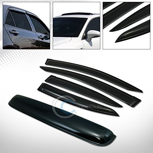 R&L Racing SMOKE SUN SHADE WINDOW VISORS w/SUNROOF MOON ROOF GUARD 12-15 HONDA CIVIC 4D/4DR