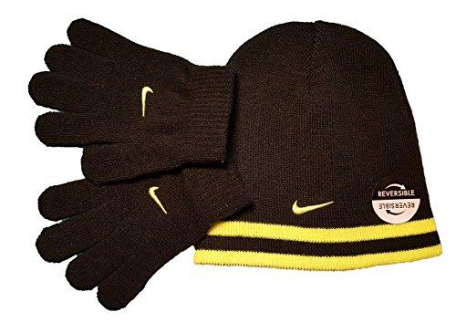 Nike Swoosh Reversible Knit Beanie Skull Cap & Gloves Set (4/7, (Black Reversible Skull Cap)