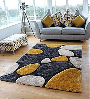 NEW MUSTARD SILVER BEIGE PEBBLES DESIGN LUXURIOUS THICK PILE RUG MODERN SOFT SILKY CONTEMPORARY SHAGGY RUGS