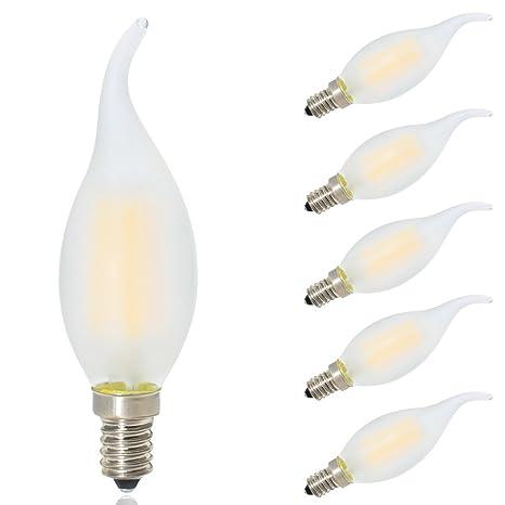5X Bombillas E14 Regulables Edison Filamento Vela LED Blanco Cálido 2700K Bajo Consumo,Vidrio Mate