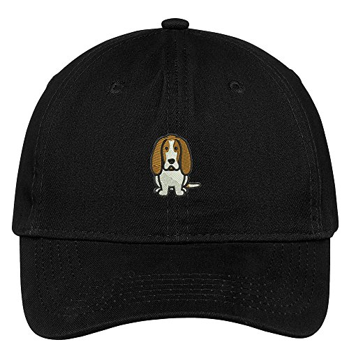 Black Dog Breed Baseball Cap (Trendy Apparel Shop Basset Hound Dog Breed Embroidered Soft Cotton Low Profile Dad Hat Baseball Cap - Black)