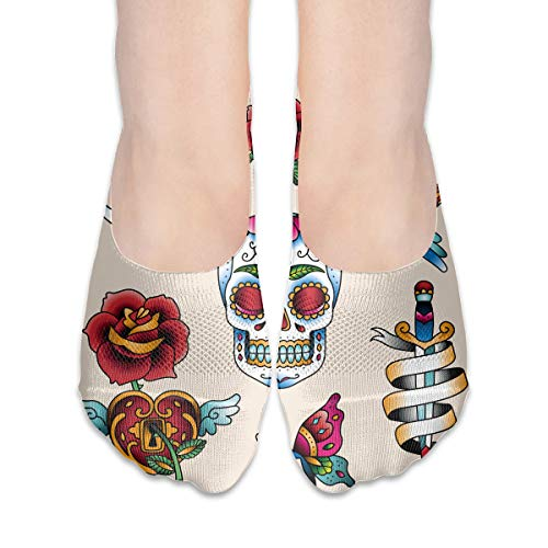 Women's No Show Socks, Loafer Socks Boat Shoe Socks Liner Socks with Coolplus, Non-Slip Grip, Traditional Color Skull…