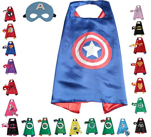Super hero Cape and Mask, Children, Boys, Girls Dress Up Costume (Superheroes Costume Ideas For Kids)