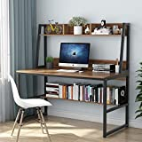 Tribesigns Computer Desk with Hutch and Bookshelf, 47'' Home Office Desk with Space Saving Design for Small Spaces, Retro Brown