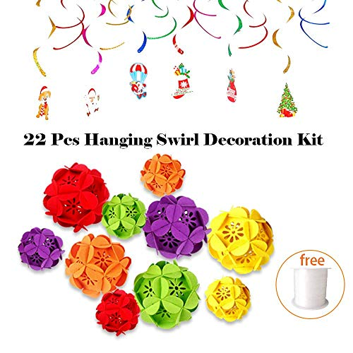 Festival Hanging Swirl Decoration Kit - 10 Pcs DIY Paper Honeycomb Lantern Balls and 12 Pack Swirls Garland Foil Hanging Ceiling Decoration for Xmas Winter Birthday New Year Decoration Party Supplies Favors (22 Pack) ()