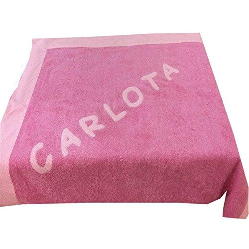 toalla playa 100x150 rosa con cenefa y nombre