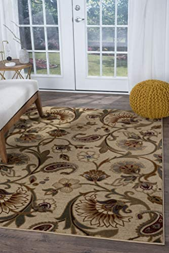 Tayse Fairfield Beige 8×11 Rectangle Area Rug for Living, Bedroom, or Dining Room – Transitional, Floral