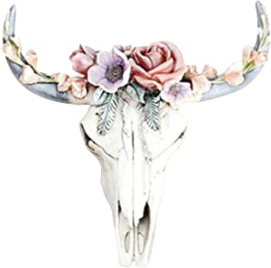 White Bull Skull Wall Hanging Sculptures, Bull Head Resin Wall Decoration, Succulent/Flower Cow Skull Wall Decor Nursery Decor, Simulation 3D Animal Cow Skull for Home Office Decorations (Large)