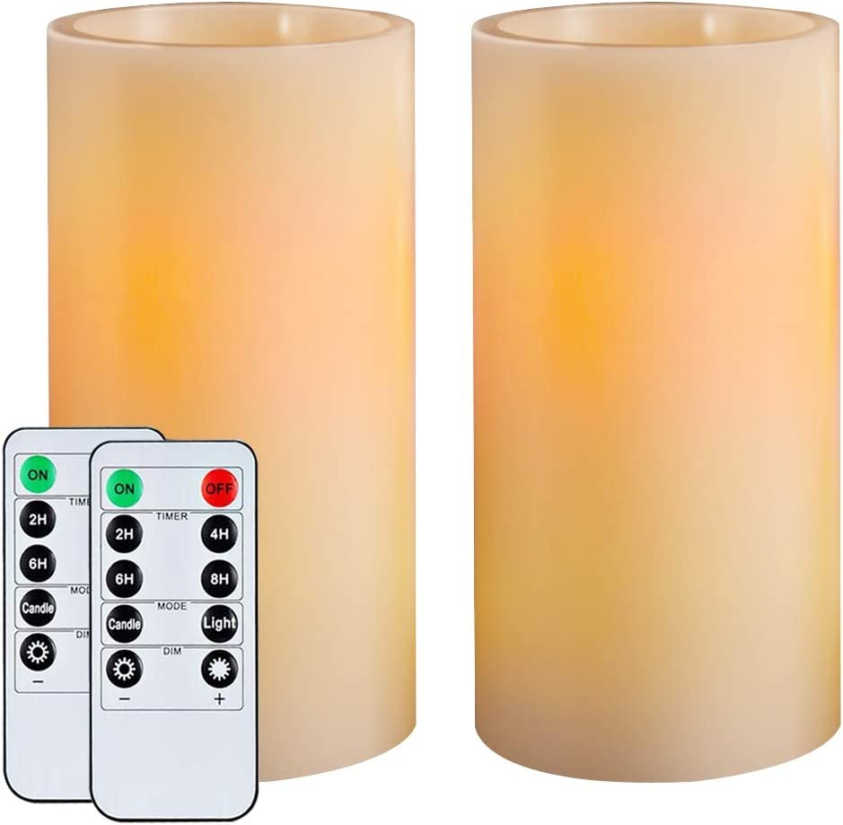 """Homemory 7"""" Flameless Candles Battery Operated, Amber Yellow Light,Realistic Wax LED Pillar Candles with 2 Remote Controls & Cycling 24-Hour Timer, Long Battery Life 300+ Hours, Set of 2, Indoor Only"""