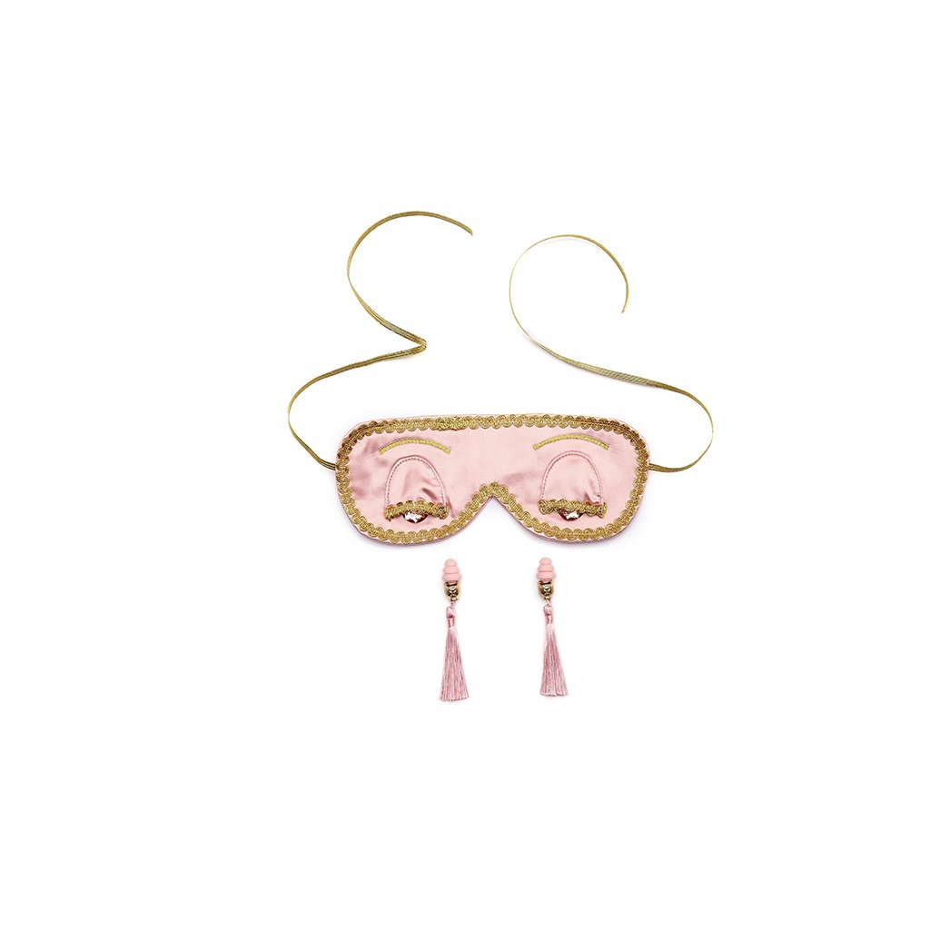 Dusty Rose Breakfast at Tiffany's Sleep Mask and Earplugs Set (w/o giftbox)