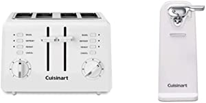 Cuisinart CPT-142P1 2-Slice Compact Plastic Toaster, 4, White & CCO-50N Deluxe Electric Can Opener, White