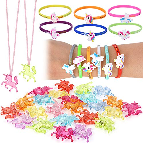 Unicorn Party Supplies(36Pack),Konsait Unicorn Pendant Necklace with Pink Cord | Bracelets Wristbands Great for Little Girls Toys Prizes Gifts Goody Bag Fillers Rainbow Unicorn Birthday Party Favors