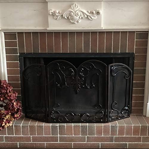 火災ガード3-パネル暖炉スクリーンを折り - 錬鉄ネットカバー付 - リビングルームのインテリアとスパーク炎 - 120X73cm