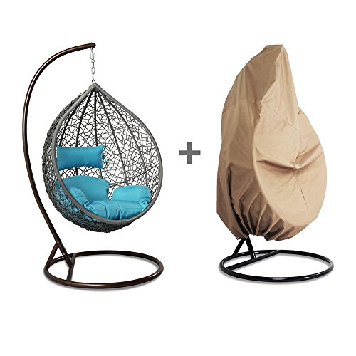 Island Gale Outdoor Grey Wicker Rattan Hanging Swing Egg Chair Hammock with Stand and Cushion, FREE Chair Cover Protector (Hanging Rattan Egg Chair)