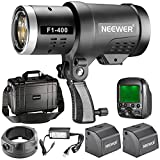 Neewer 400W 2.4G HSS Dual TTL(i-TTL and e-TTL) Outdoor Flash Strobe Light for Canon and Nikon, with 2.4G Wireless Trigger and 2 Packs 3200mAh High Capacity Li-ion Battery, Bowens Mount F1-400