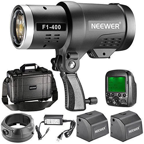 Neewer 400W 2.4G HSS Dual TTL(i-TTL and e-TTL) Outdoor Flash Strobe Light for Canon and Nikon, with 2.4G Wireless Trigger and 2 Packs 3200mAh High Capacity Li-ion Battery, Bowens Mount F1-400 by Neewer
