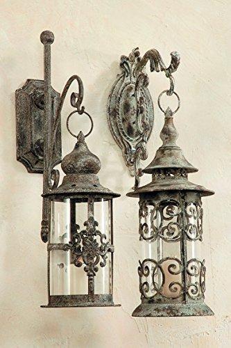 2x Laternen im Antik - Stil   Ornament + Wandhalterung Wandlaterne Windlicht 2er Set