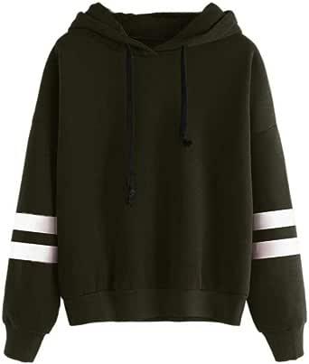 OVERMAL Womens Long Sleeve Hoodie Sweatshirt Jumper Hooded Pullover Tops Blouse