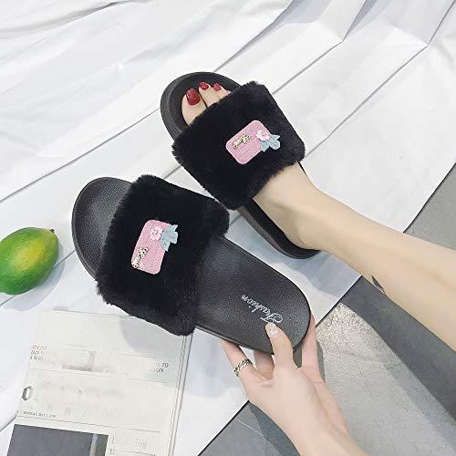 Sale Fluffy Flat Slippers On Sliders Women Faux Black Slippers For Flop Slip Clearance Flip Sandals Farjing Fur 8w81tUqP
