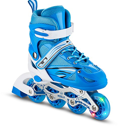 Kids Rollerblades Inline Skates – Top Performance Roller Skate for Girls and Boys – Easily Adjustable, Fits US Kids size 4-6, Expands as Your Child Grows - Light Up-Front Wheel and Low Friction Wh