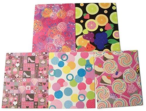 Staples Two Pocket Paper Textured Glitter 5 Folder Set ~ Colorful Balls, Colorful Swirls, Fashion Fun, Sweet Treats, Fruit Medley