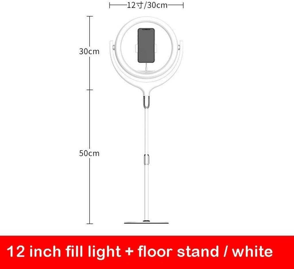 SUYIDAN Ring Light 12Inch LED Floor Ring Light Microphone Phone Holder Stepless Dimming Fill Light USB Power Supply Selfie Lamp Ringlight Color : C