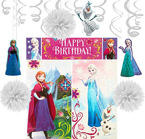 Party City Frozen Decorating Supplies, Include Honeycombs, Pom Poms, Hanging Swirls, and a Photo Booth Set with Props ()