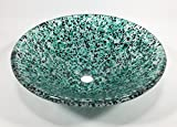 Blue, Green and White Crushed Glass Bathroom Vessel Sink